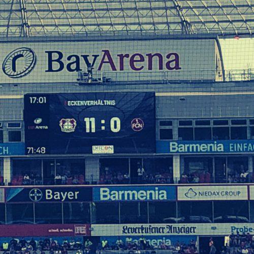 Eckenstatistik des Bundesligaspiels Bayer 04 vs. 1.FC Nürnberg, über das der Bayer 04 Blog Pillenliebe berichtet.